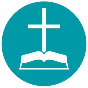 Graphic showcasing an open Bible and a Cross