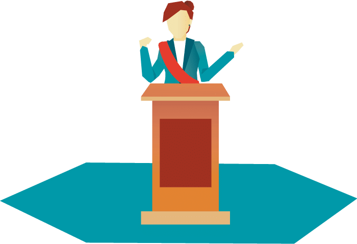 Illustration of Christian Embassy ambassador speaking on a podium.