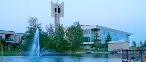Mount Royal University with fountain in foreground.