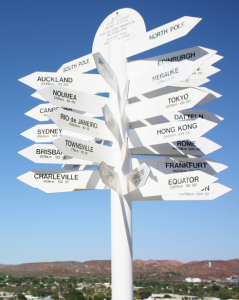 Sign post displaying numerous distance markers.