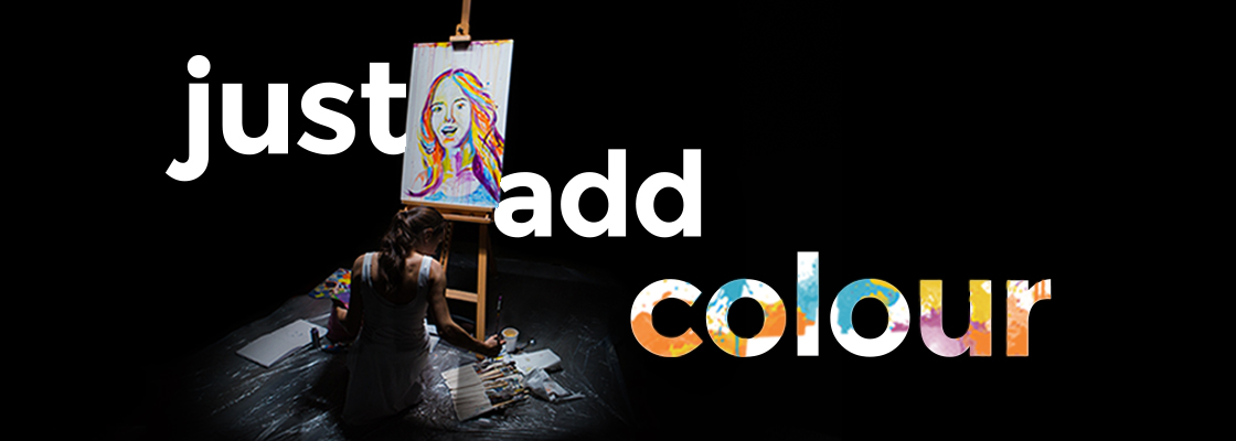 Just add colour. Woman painting.