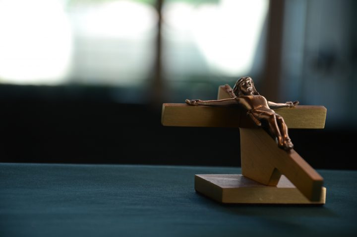 Crucifix on a table