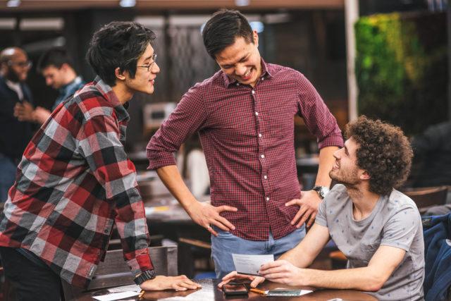 Three Friends Talking