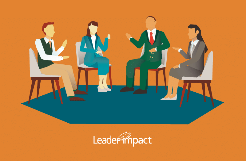 Illustration of LeaderImpact members having a group discussion.