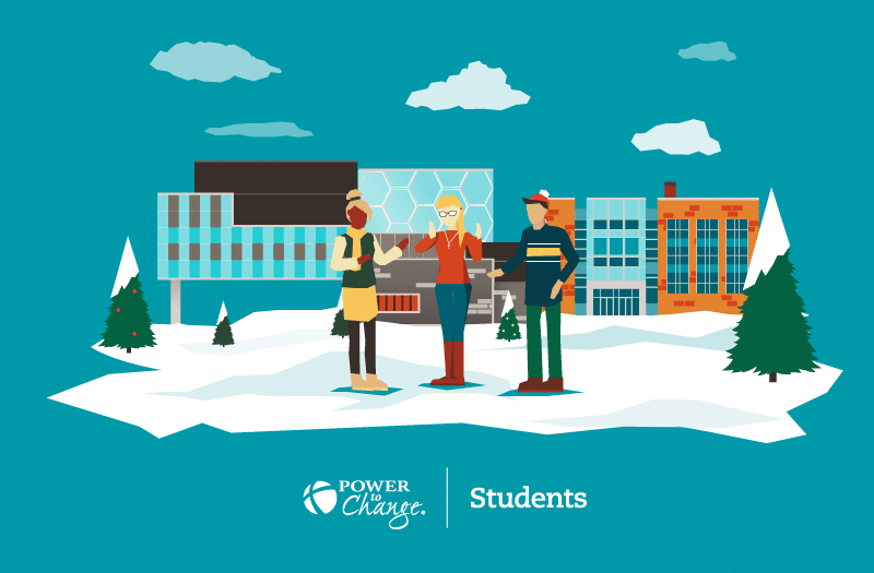 Illustration of students at Waterloo University.
