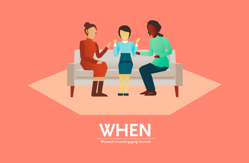 Illustration of three women sitting on a sofa while talking.