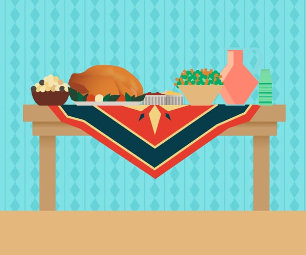 Illustration of a table with food on it.
