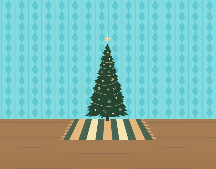 Illustration of a Christmas tree in the middle of an empty room.