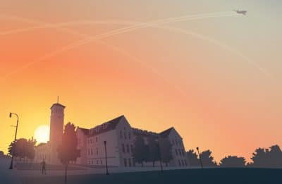 Illustration of a Queens University building during sunset.