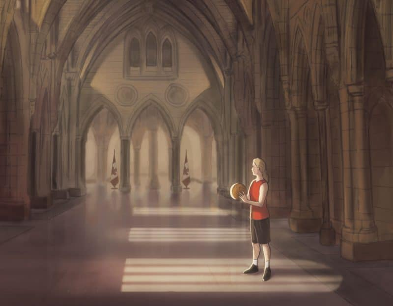 P2C Magazine Issue 2 - Illustration of Stephanie holding a basketball in the Canadian Parliament building