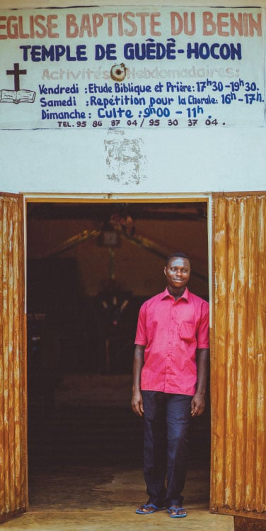Basile Guede, the pastor of the church in Guede Codji, came to faith in Christ through the JESUS film showing in the village in 2005.