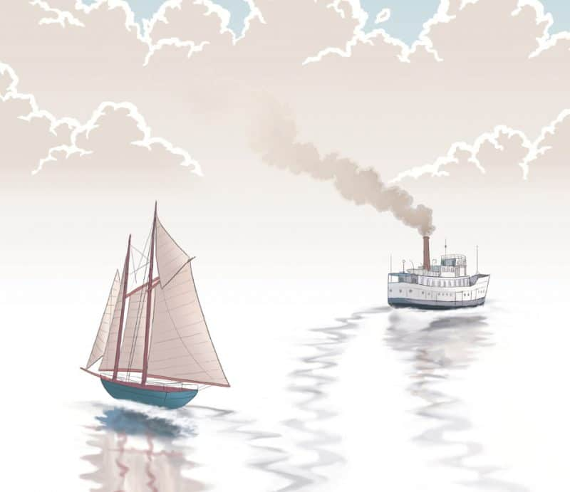 Illustration of two boats drifting apart in the ocean