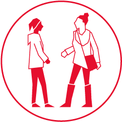 Illustration of two women talking